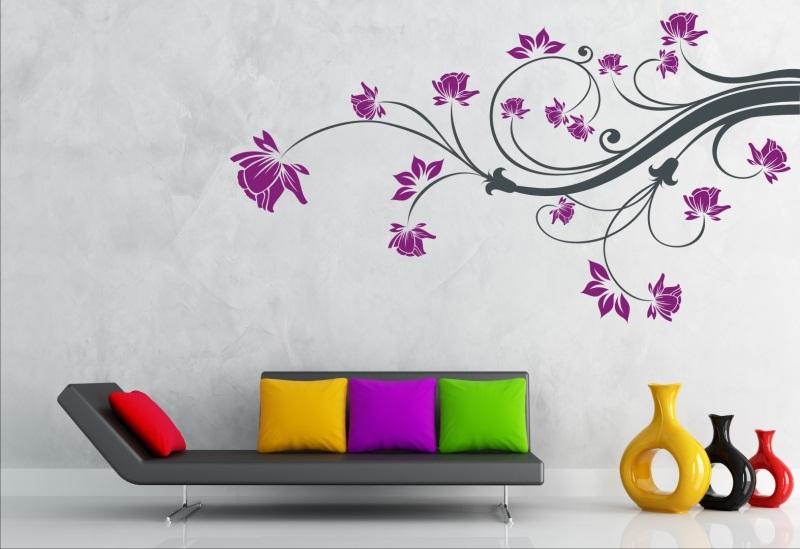 wandtattoo wandaufkleber pflanze blumenranke 2 farbig ornamente schmetterlinge ebay. Black Bedroom Furniture Sets. Home Design Ideas