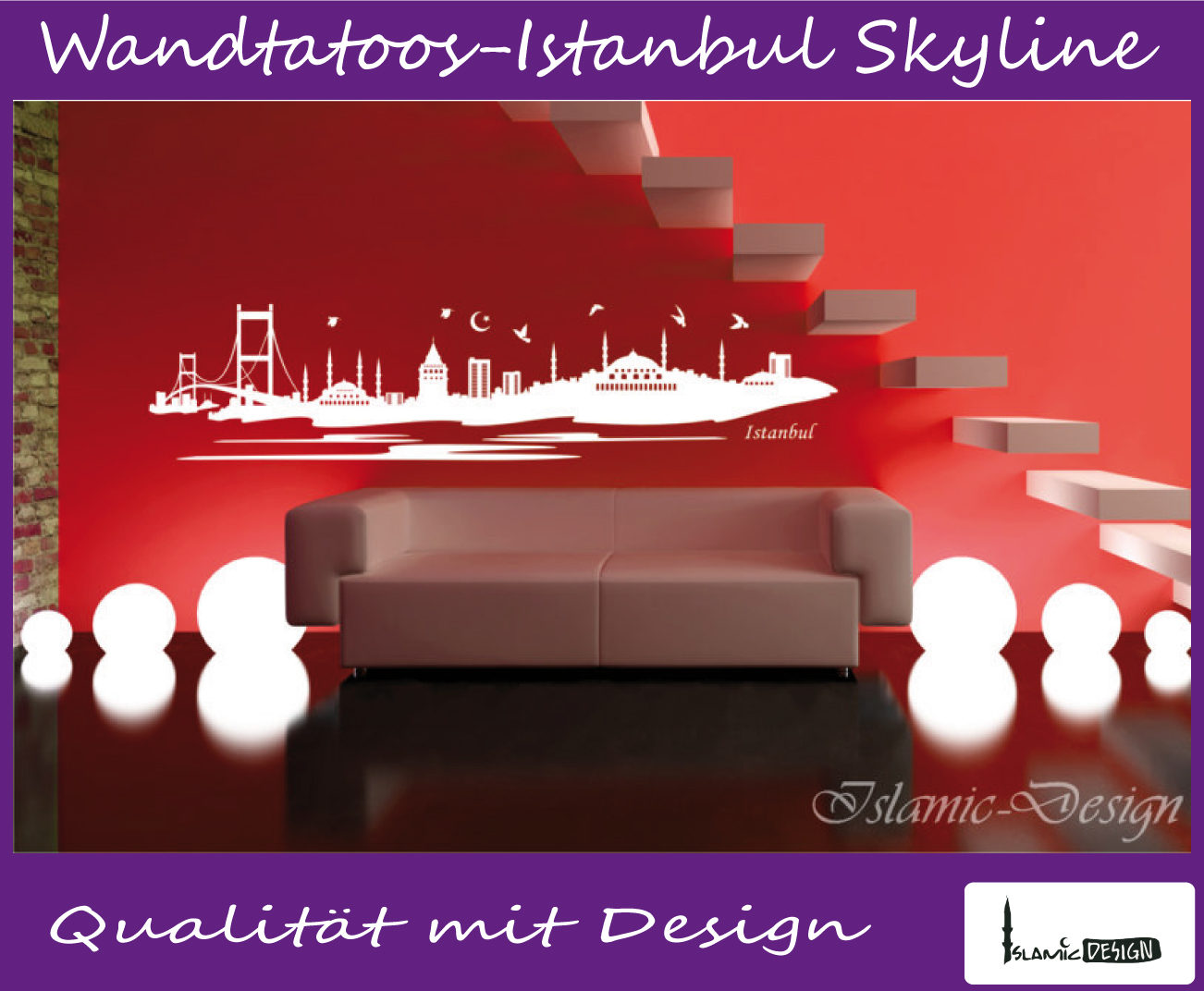 wandtattoo wandaufkleber istanbul skyline wandsticker türkei islam