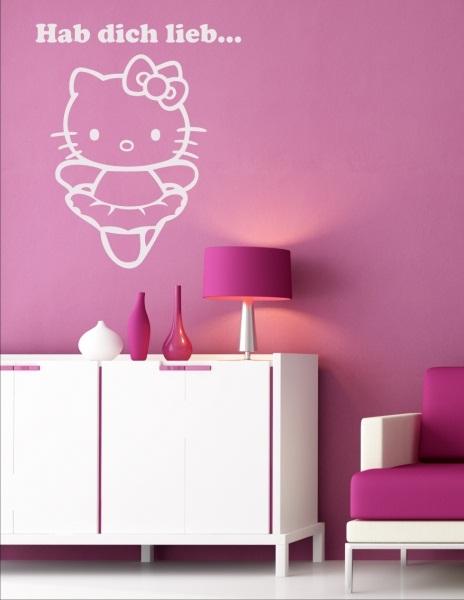 wandtattoo wandaufkleber hello kitty kinder kinderzimmer wandsticker neu wow ebay. Black Bedroom Furniture Sets. Home Design Ideas
