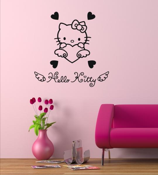 wandtattoo wandaufkleber hello kitty kinder wandsticker. Black Bedroom Furniture Sets. Home Design Ideas