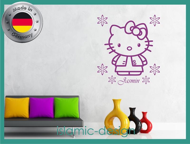 wandtattoo wandaufkleber hello kitty kinder wandsticker wunschname kinderzimmer ebay. Black Bedroom Furniture Sets. Home Design Ideas
